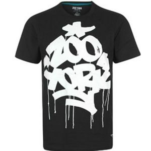 NWT Zoo York men's Blk Wht Fat & Juicy T-Shirt. Sm